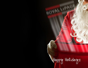 Button to customize design Royal Le Page Holiday Greeting Cards Portrait Template: 370233