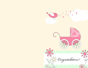 Greeting/Baby Girl Greeting Cards Portrait Template: 349736