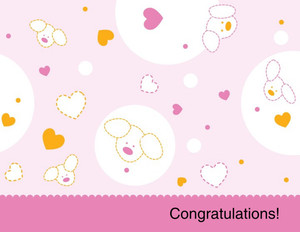 Button to customize design Greeting/Baby Girl Greeting Cards Portrait Template: 349726