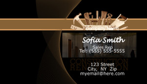 Button to customize design Renovations / Construction Business Cards Template: 597569