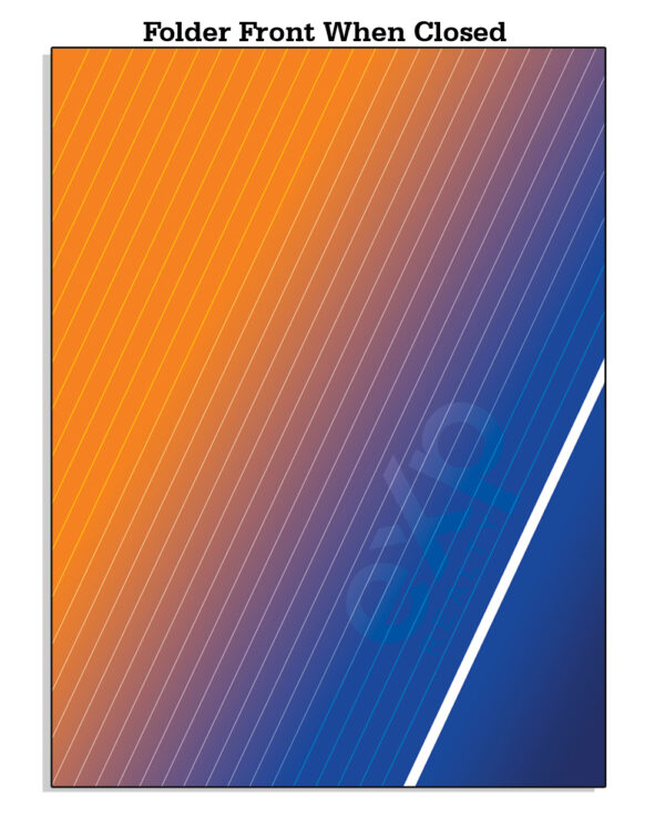 Amazon EXP FrontWhenClosed Template 01 EXP Folder with Orange and Blue Colors - EXP Pocket Folders